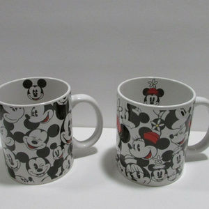 Pair of Mickey and Minnie Mouse Disney Mugs